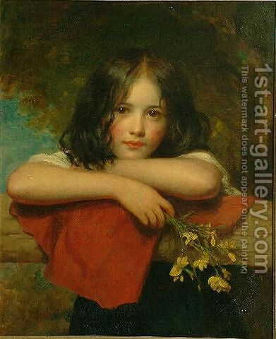 Portrait of a young girl leaning on a stone ledge by Charles Baxter - Reproduction Oil Painting
