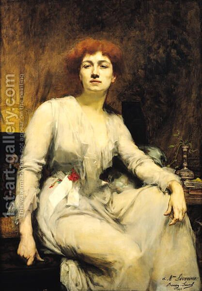 Portrait of Severine ca. 1890 by Amelie Beaury-Saurel - Reproduction Oil Painting