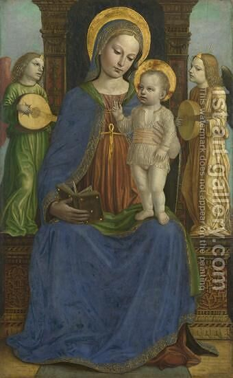 The Virgin and Child with Two Angels 1490-95 by Bernadino Bergognone - Reproduction Oil Painting