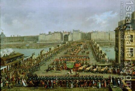 The Imperial Procession Returning to Notre Dame for the Sacred Ceremony of 2nd December 1804, Crossing the Pont-Neuf by Jacques Bertaux - Reproduction Oil Painting