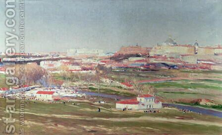Pradera de San Isidro and Palacio Real beyond, Madrid by Aureliano de Beruete y Moret - Reproduction Oil Painting
