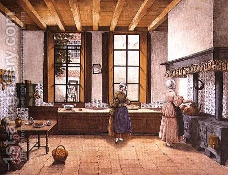 Kitchen of the Zwijnshoofd Hotel at Arnhem, 1838 by Mary Ellen Best - Reproduction Oil Painting