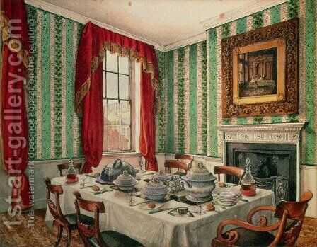Our Dining Room at York, 1838 by Mary Ellen Best - Reproduction Oil Painting