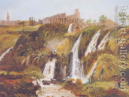 The falls at Tivoli by Carlo Bevilacqua - Reproduction Oil Painting