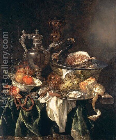 Still Life with a Silver Wine Jar with a Reflected Portrait of the Artist by Abraham Hendrickz Van Beyeren - Reproduction Oil Painting