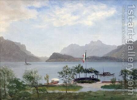 Lakeshore In Northern Italy,  c 1855 by Albert Bierstadt - Reproduction Oil Painting