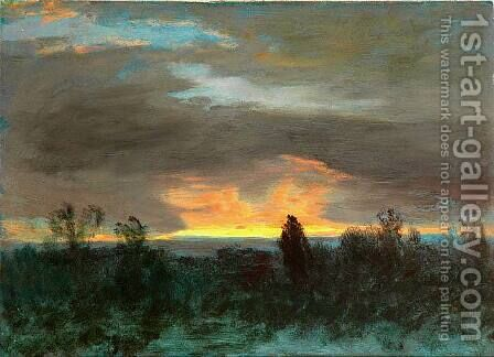 Sunset -Landscape by Albert Bierstadt - Reproduction Oil Painting