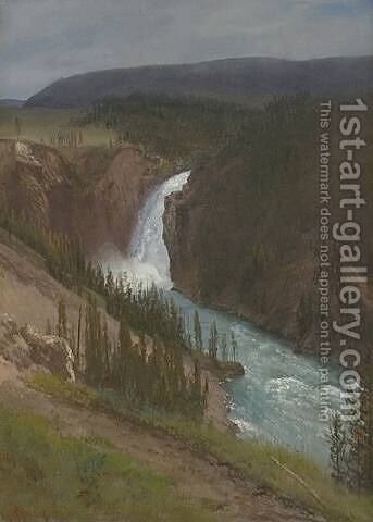 Upper Falls of the Yellowstone by Albert Bierstadt - Reproduction Oil Painting