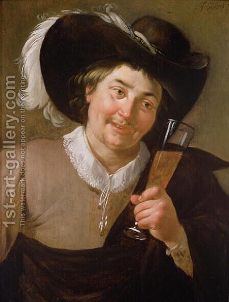 Portrait of a Man Holding a Wine Glass by Jan Hermansz. van Biljert - Reproduction Oil Painting