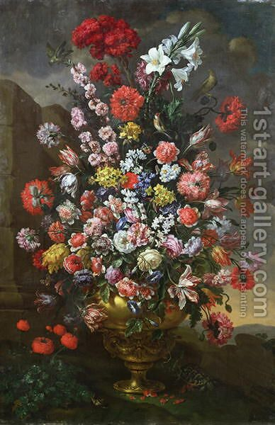Lilies, tulips, carnations by Bartolommeo Bimbi - Reproduction Oil Painting