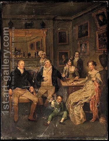 A family portrait by Edward Bird - Reproduction Oil Painting