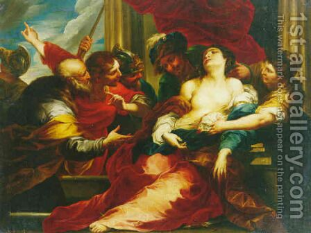 The death of Lucretia by Bartolomeo Biscaino - Reproduction Oil Painting