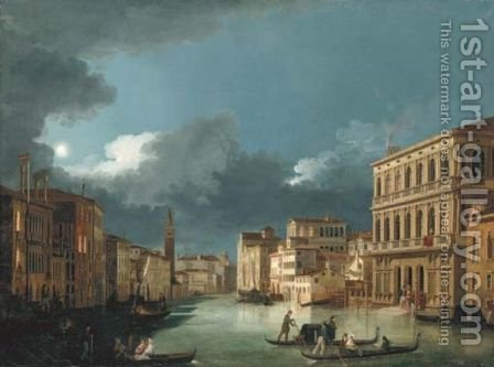The Grand Canal, Venice, looking north-west, from the Palazzo Corner to the Palazzo Contarini dagli Scrigni, by moonlight... by Giuseppe Bernardino Bison - Reproduction Oil Painting