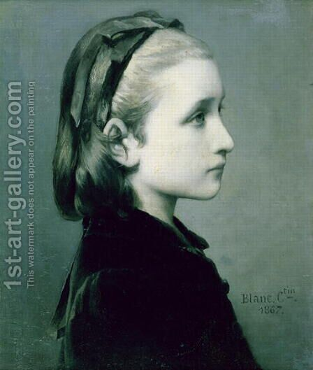 Head of a Girl, 1867 by Celestin-Joseph Blanc - Reproduction Oil Painting