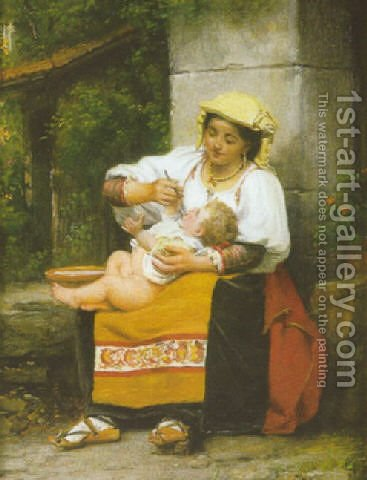 Italienne donnant la soupe a son enfant 1873 by Celestin-Joseph Blanc - Reproduction Oil Painting