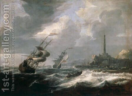 Seascape with lighthouse of Genoa by Jan Theunisz Blanckerhoff - Reproduction Oil Painting