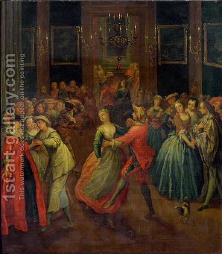 The Costume Ball by Henri J. van Blarenberghe - Reproduction Oil Painting