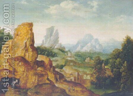 The penitent Saint Jerome in a grotto in a mountainous landscape by Herri met de Bles - Reproduction Oil Painting