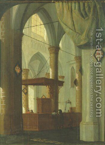 The interior of a Gothic church with an elegant couple 1654 by Daniel de Blieck - Reproduction Oil Painting