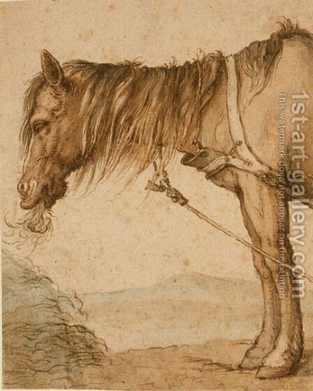 A Horse Eating Hay, c.1600-10 by Abraham Bloemaert - Reproduction Oil Painting