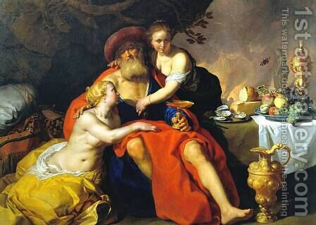 Lot and His Daughters by Abraham Bloemaert - Reproduction Oil Painting