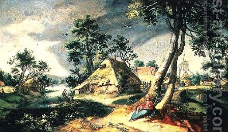The Rest on the Flight into Egypt by Abraham Bloemaert - Reproduction Oil Painting