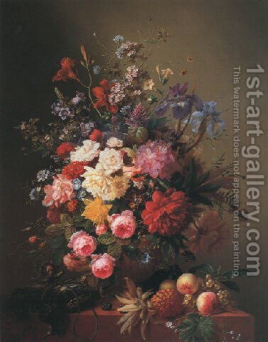 Summer flowers in an urn with fruit and game on a marble ledge by Arnoldus Bloemers - Reproduction Oil Painting
