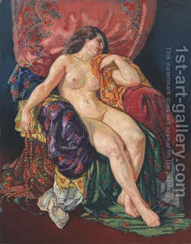 A seated nude 1913 by Harry Bloomfield - Reproduction Oil Painting