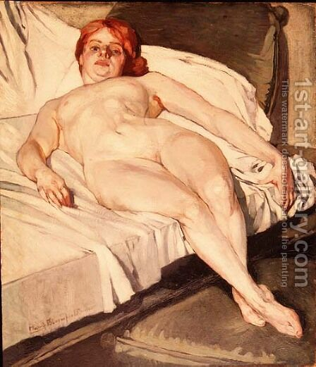 Reclining nude 1906 by Harry Bloomfield - Reproduction Oil Painting