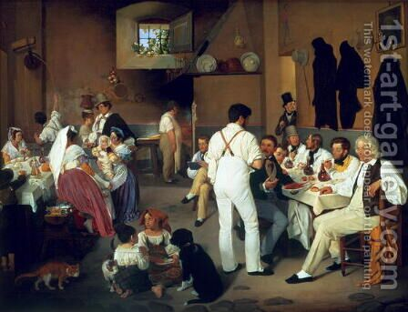 Danish artists at the Osteria la Gonsola, Rome 1837 by Ditlev Conrad Blunck - Reproduction Oil Painting