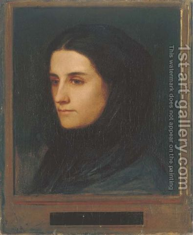 Angela Bocklin mit schwarzem Schleier 1854 by Arnold Böcklin - Reproduction Oil Painting