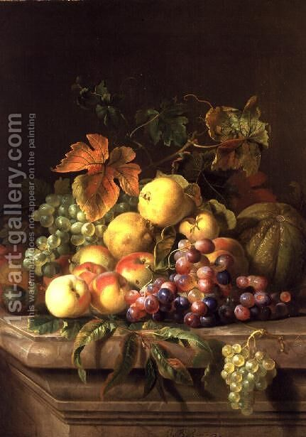 A Still Life of Melons, Grapes and Peaches on a Ledge by Jakab Bogdany - Reproduction Oil Painting