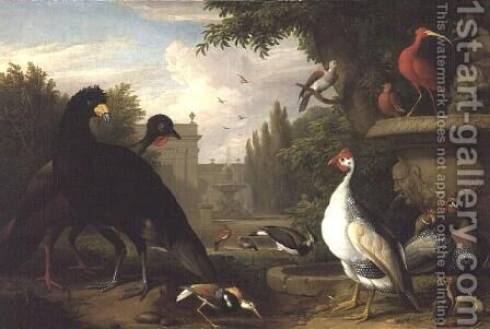 Exotic fowl in an ornamental garden by Jakab Bogdany - Reproduction Oil Painting