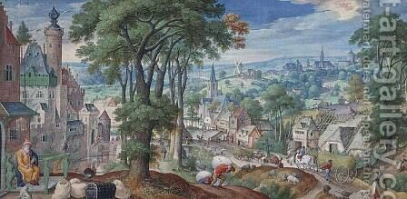 Panoramic Landscape with Parable of The Rich Man and view of the city of Brussels 1585 by Hans Bol - Reproduction Oil Painting