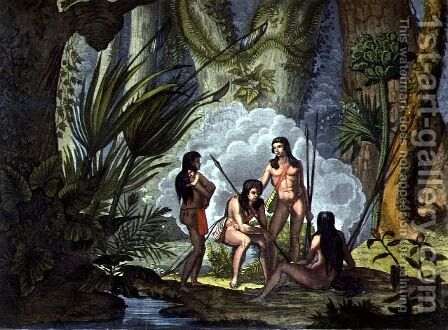 Camacani Tribesmen in Woodland in the Amazon jungle, Brazil, from 'Le Costume Ancien et Moderne', Volume I, plate 53 , 1820-30s by D.K. Bonatti - Reproduction Oil Painting