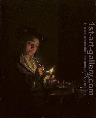 A candlelit interior with a young man seated at a table, lighting his pipe by Arnold Boonen - Reproduction Oil Painting