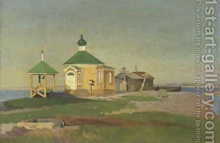 A Russian church in the village of Nikol'skoe by Alexandr Alekseevich Borisov - Reproduction Oil Painting