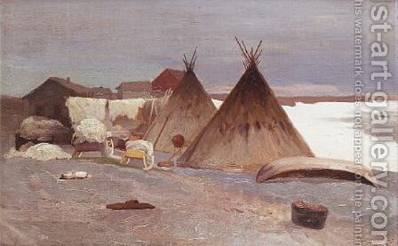 Encampment in the snow 1906 by Alexandr Alekseevich Borisov - Reproduction Oil Painting
