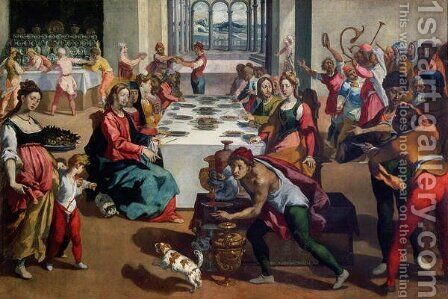 Wedding at Cana 1580-85 by Andrea Boscoli - Reproduction Oil Painting