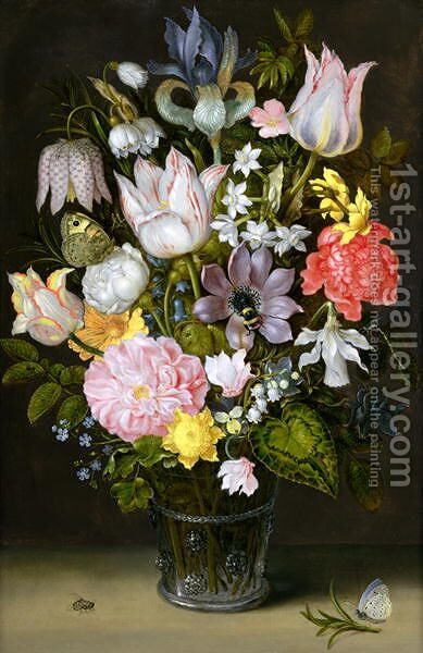 Still life of a bouquet of flowers including variegated tulips, bluebells, forget-me-nots and lily-of-the-valley (2) by Ambrosius the Elder Bosschaert - Reproduction Oil Painting