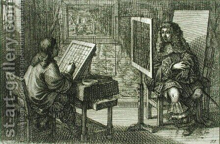 Artist painting a portrait over a grid for accurate proportion, printed Paris 1737 by Abraham Bosse - Reproduction Oil Painting