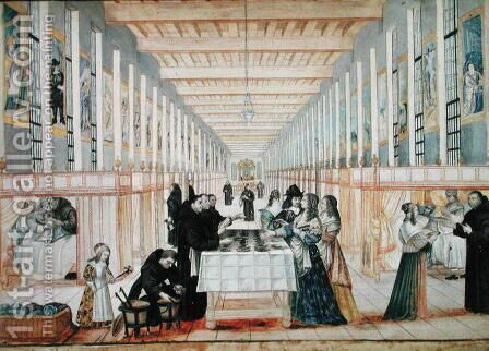The Infirmary of the Sisters of Charity during a visit of Anne of Austria by Abraham Bosse - Reproduction Oil Painting