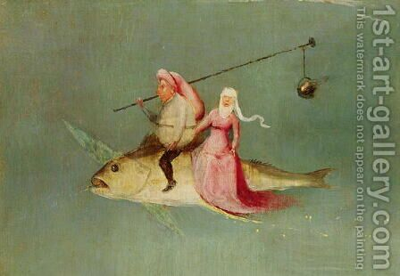 The Temptation of St. Anthony, right hand panel (detail of a couple riding a fish) by Hieronymous Bosch - Reproduction Oil Painting
