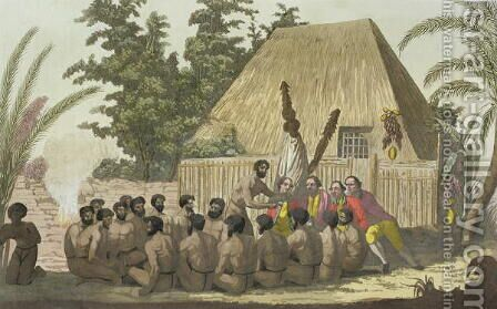 Captain Cook observes an Offering, Sandwich Islands by C. Bottigella - Reproduction Oil Painting