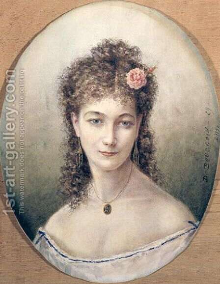 Sarah Bernhardt 1869 by Marie Desire Bourgoin - Reproduction Oil Painting
