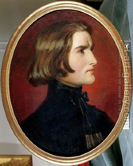 Portrait of Franz Liszt (1811-86), 1838 by Charles Edouard Boutibonne - Reproduction Oil Painting