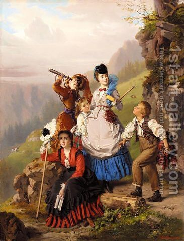 The young mountaineers 1870 by Charles Edouard Boutibonne - Reproduction Oil Painting
