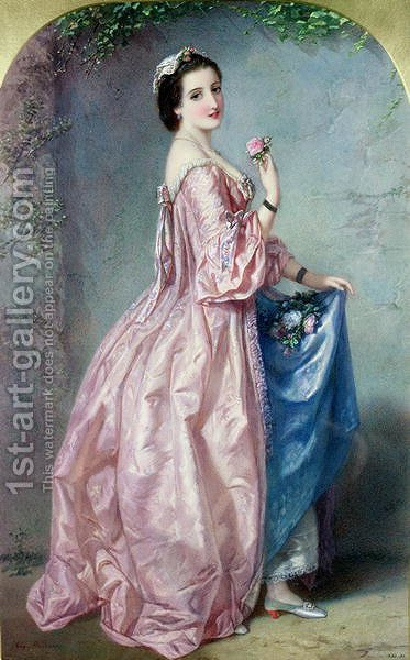Lady holding Flowers in her Petticoat by Auguste Jules Bouvier, N.W.S. - Reproduction Oil Painting
