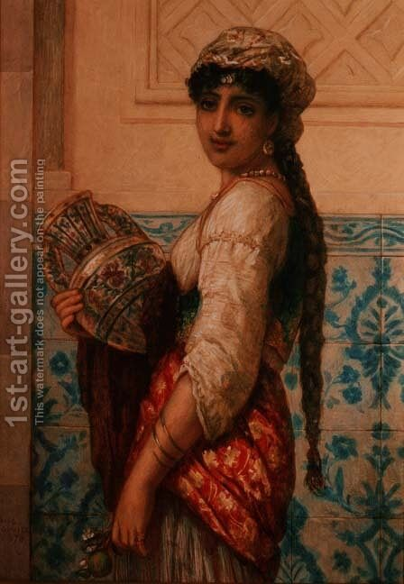 The Water Carrier by Auguste Jules Bouvier, N.W.S. - Reproduction Oil Painting