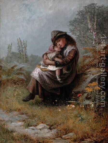 A Rest by the Wayside 1872 by Jane Maria Bowkett - Reproduction Oil Painting